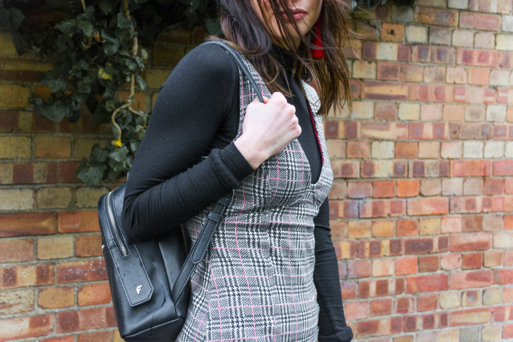 Wearing Topshop check pinafore dress, Missguided high neck body and Fiorelli Anouk backpack