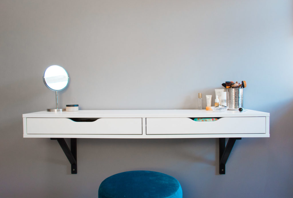 Shelving unit from Ikea, stool from Maisons Du Monde.